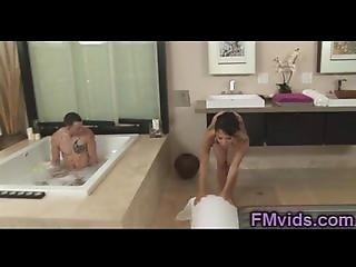 Asian hottie sucking huge cock