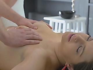 Brunette Model Hired Hunk Massage Boy For Her Lustful Pussy