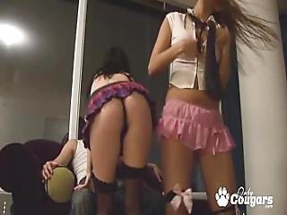 Two Young Sluts Give Dude A Lapdance And Striptease In Home Video