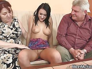 Old Parents Seduce His Teen Gf Easily
