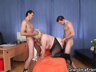 Old Granny Double Blowjob And some Sex