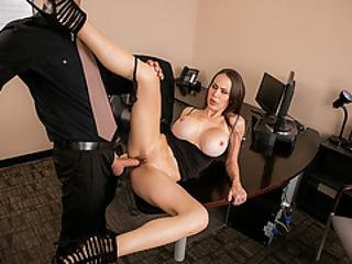 Busty Wife Fucks Her Husbands Worker In His Office