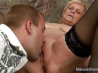 Guy Sucks Mature Blondes Saggy Tits
