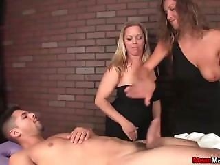 Two Bossy Ladies Tag-team A Poor Man