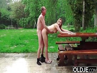 Hot Schoolgirl Teen Fucks Old Man Doggystyle With Blowjob And Cum Swallow