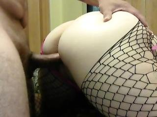 Teen In Fishnets Smears Cum On Fat Ass After Fckd Doggy Style
