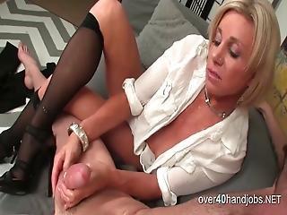 Mature Blonde Masturbating While Stripping