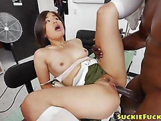 Asian Tinys Ass Destroyed By Big Black Cock