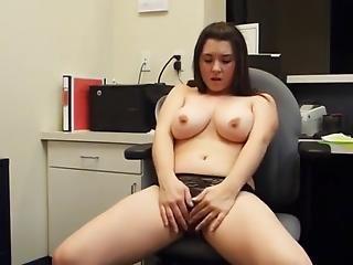 Barely Legal Masturbates In Office