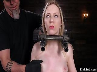 Blonde Pale Ass Paddled In Bondage