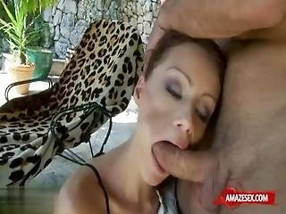 Brunette Pornstar Gaping With Facial