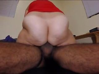 Chubby White Milf Riding Her Hairy Lover