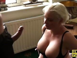 Facefucked Chubby Blonde Drooling All Over Cock