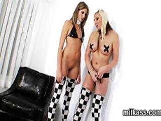 Feisty Lesbians Fill Up Their Huge Asses With Milk And Squirt It Out