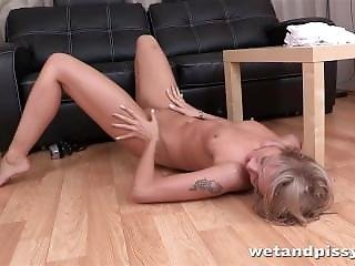 Hot Blonde Babe Enjoys Piss Playand A Ribbed Sex Toy