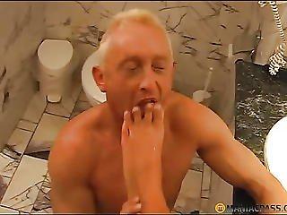 He Licks His Feet Crumbs