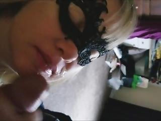 Black Mask Blowjob With Cumshot