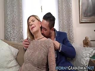 Blonde Granny Rides Cock To Get Mouth And Face Cum Sprayed