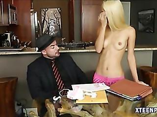 Skinny Blonde Teen Uma Jolie Receives Warm Cum In Her Muff