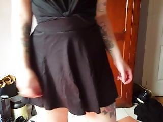 Tattooed Girl In Mini Skirt Swirls And Shows Panties.