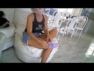 Sexy Sprain In Purple Socks And Black Heels