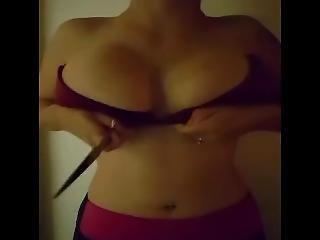 Curvy Girl 2 Destroys Her Bra With Scissors!