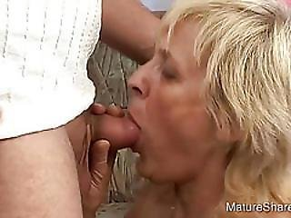 Guy Sucks Mature Blondes Saggy Tits