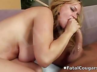 Big Tit Milf Sucks Off Lucky Dude