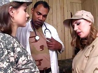Military Babes Get There 1st Taste Of Interracial Hardcore