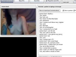 Chatroulette Hot Milf Gets Naked And Masturbate