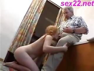 Daddy Fucks A Hairy Red Pussy