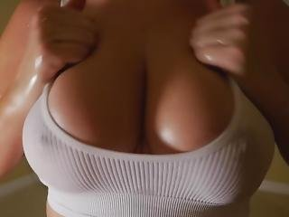 Titfuck In White Sports Bra After Gym