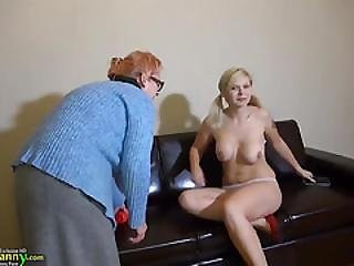 Old Granny With Teen Masturbating Hairy Pussy