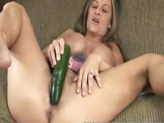 Busty Cougar Leeanna Heart Masturbates With A Cucumber