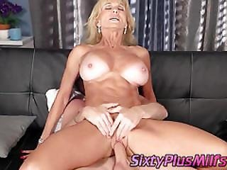 Blonde Granny Hates Her Big Tits Sucked