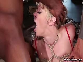 Tied Up Huge Tits Milf Dee Williams Sucks Huge Dicks On Her Knees Then On The Sofa Gets Ass And Pussy Double Penetration Interracial Group Banged