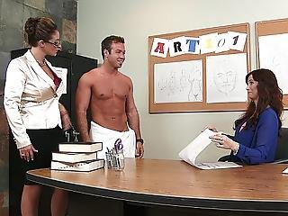 3some, American, Ass, Blowjob, Brunette, Classroom, Dark, Dark Hair, Desk, Dick, Double Blowjob, Education, Ffm, Giving Head, Milf, Office, Oral, Pornstar, Story, Sucking, Table Fuck, Teacher, Threesome, White, Workplace