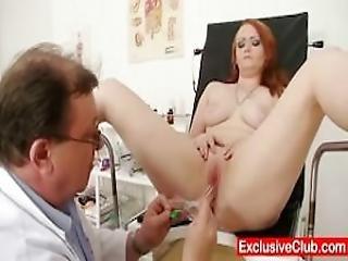 Redhead Samantha Checked By Sexy Gyno Doctor