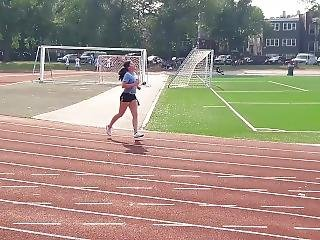 Hot 20 Years Old Girl Running In Micro Shorts