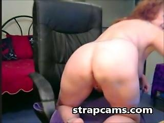 Granny With Curly Hair Masturbation On Chair