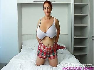 Bouncing Big Boobs On The Bed