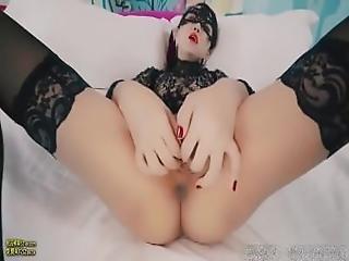 Aziatisch, Chineze, Dildo, Vingeren, Vuisten, Lingerie, Orgasme, Poes, Sex, Geschoren, Kous, Spellen, Vibrator