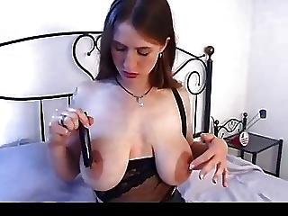 Hairy Girl With Great Saggy Tits Fucks Herself