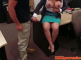 Busty Pawnclient Blows Pawnbroker For Money