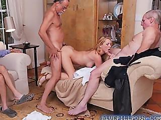 Gorgeous Blonde Teen Raylin Ann Sucks And Fucks Old Men