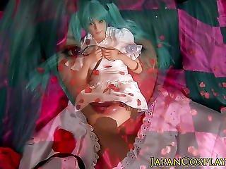 Asiatica, Primo Piano, Travestita, Costume, Panna, Creampia, Fantasia, Fetish, Con Le Dita, Pelosa, Giapponese, Lingerie, Fica, Calze