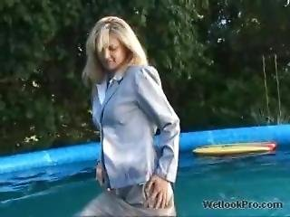 Business Suit In The Pool