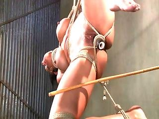 Tied Up Hanging Brunette Spanked By Her Master