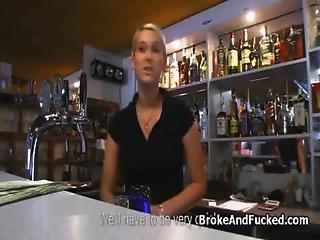 Big Tit Bartender Blows At Work For Cash