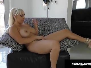 Nympho Nina Kayy Dildo Bangs Pussy While Sexting Horny Guy!